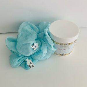 Brand NWT Anthropologie scrunchies & Cocoa Butter